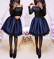 Нарядное стильное платье с пышной юбкой, размеры: S, M, цвета - бордовый, красный, синий