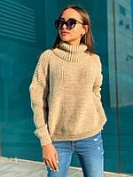 Женский полушерстяной вязаный свитер под горло, расцветок очень много, размер: универсальный 44-54