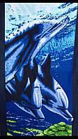 Полотенце пляжное, с 3В рисунком, дельфины