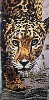 Полотенце пляжное, с рисунком 3D, леопард