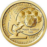 США 1 долар 2019, Американські інновації: Перша вакцина проти поліомієліту, P