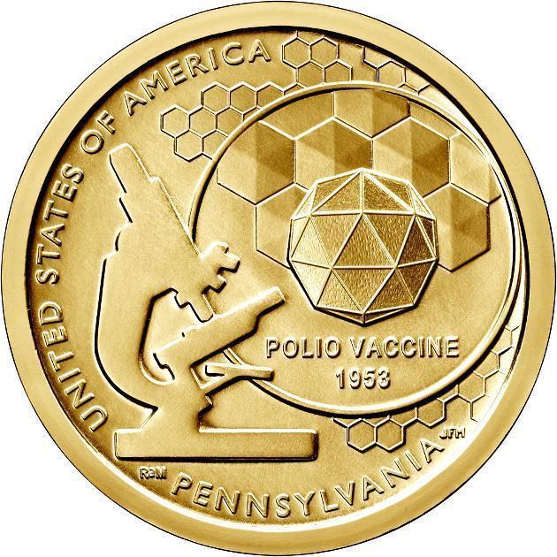 США 1 доллар 2019, Американские инновации: Первая вакцина против полиомиелита,  D