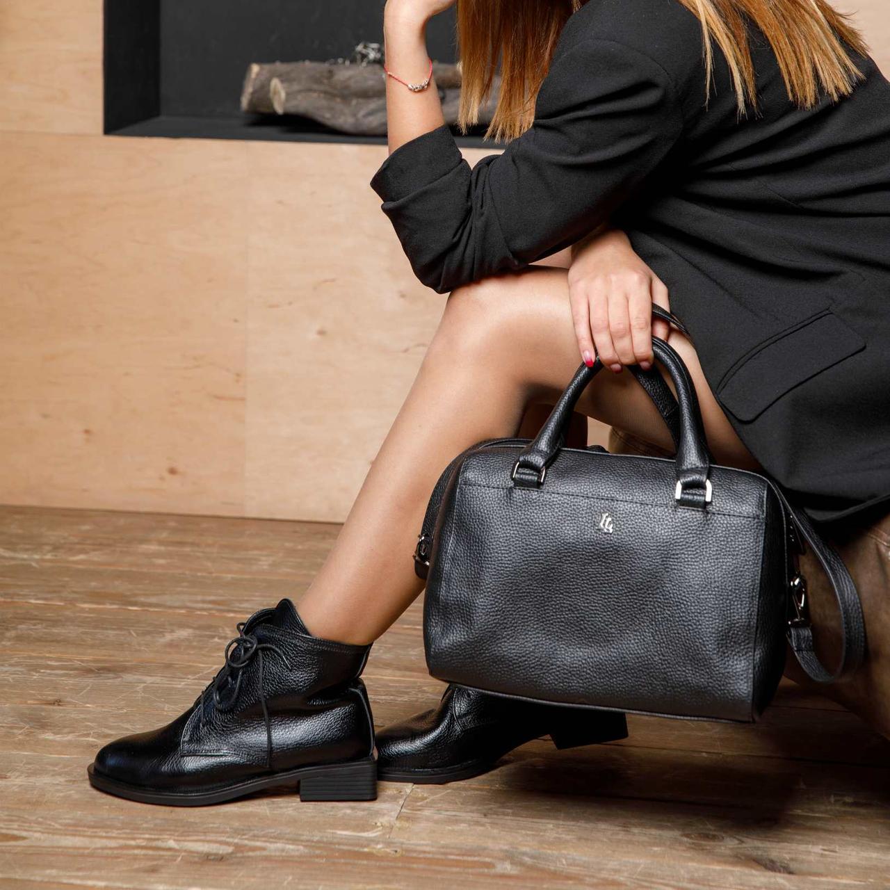 Ботинки женские кожаные на маленьком каблуке. Натуральные материалы. Осень.Зима. Каблук 3,5 см