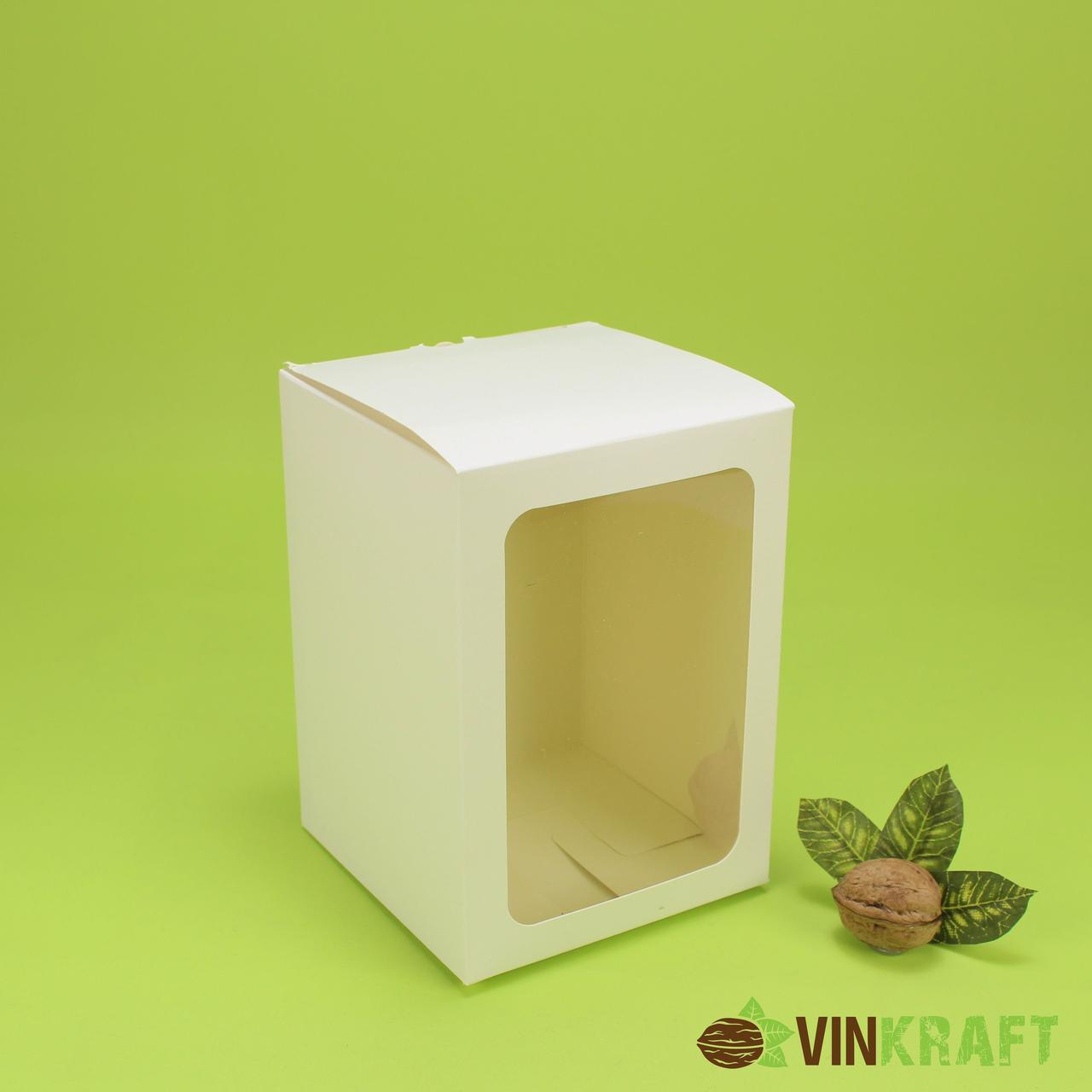 Подарункова коробка 120*120*170 з вікном, біла