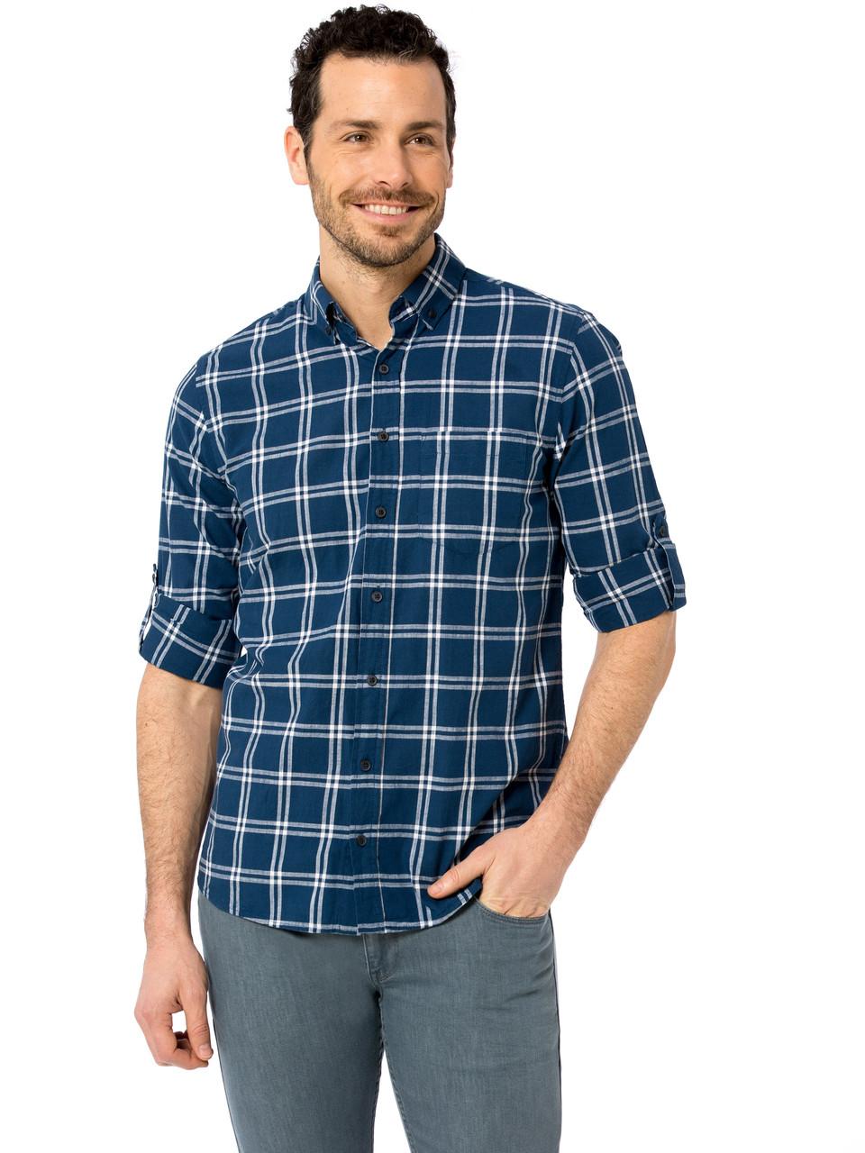 Синяя мужская рубашка LC Waikiki / ЛС Вайкики в крупную белую клетку, с карманом на груди