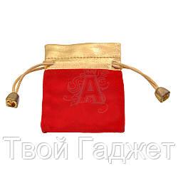 Мешочек подарочный велюровый красный на завязках (Цена за упаковку 20 шт)