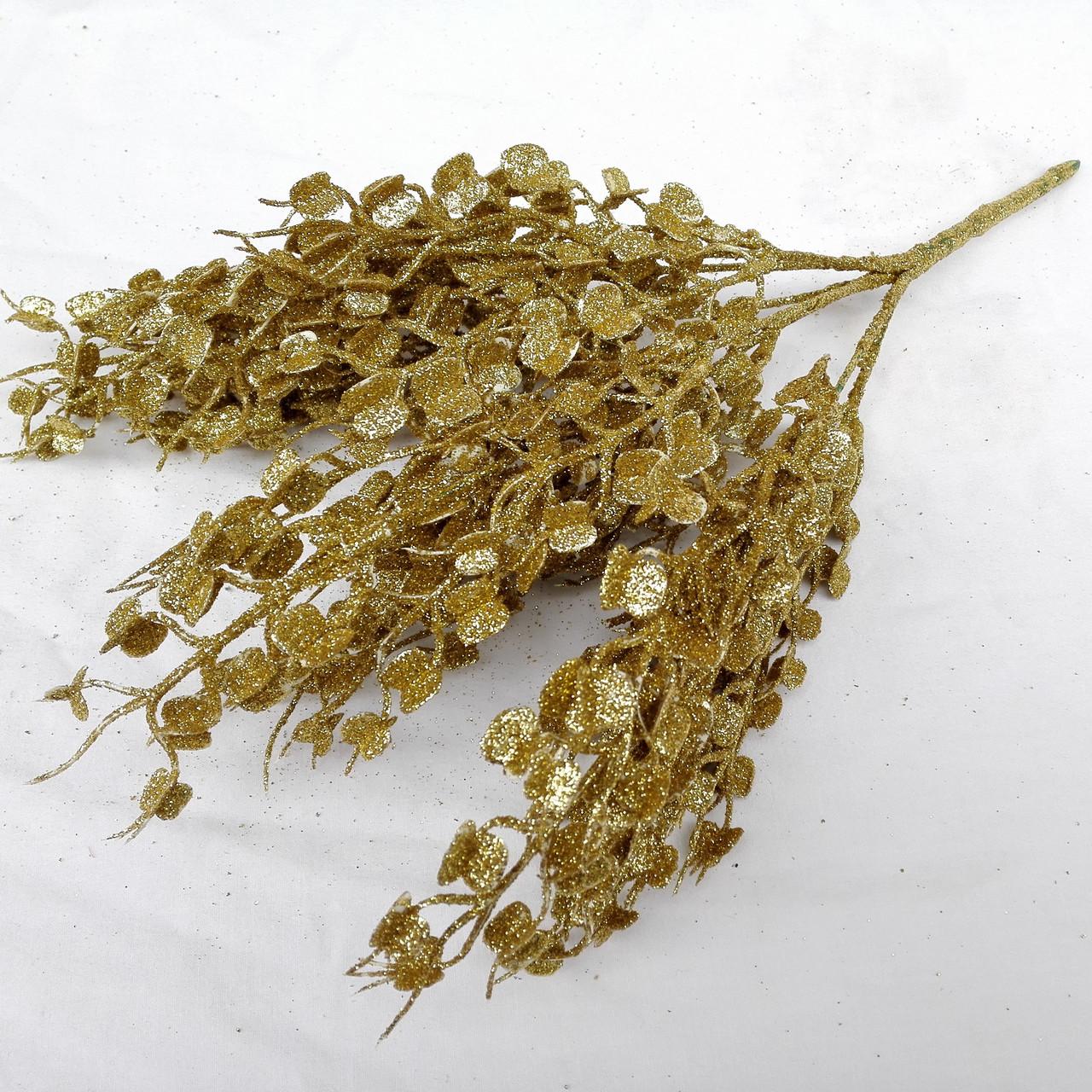 Куст в глиттере мелкий трилистник . золото 35 см