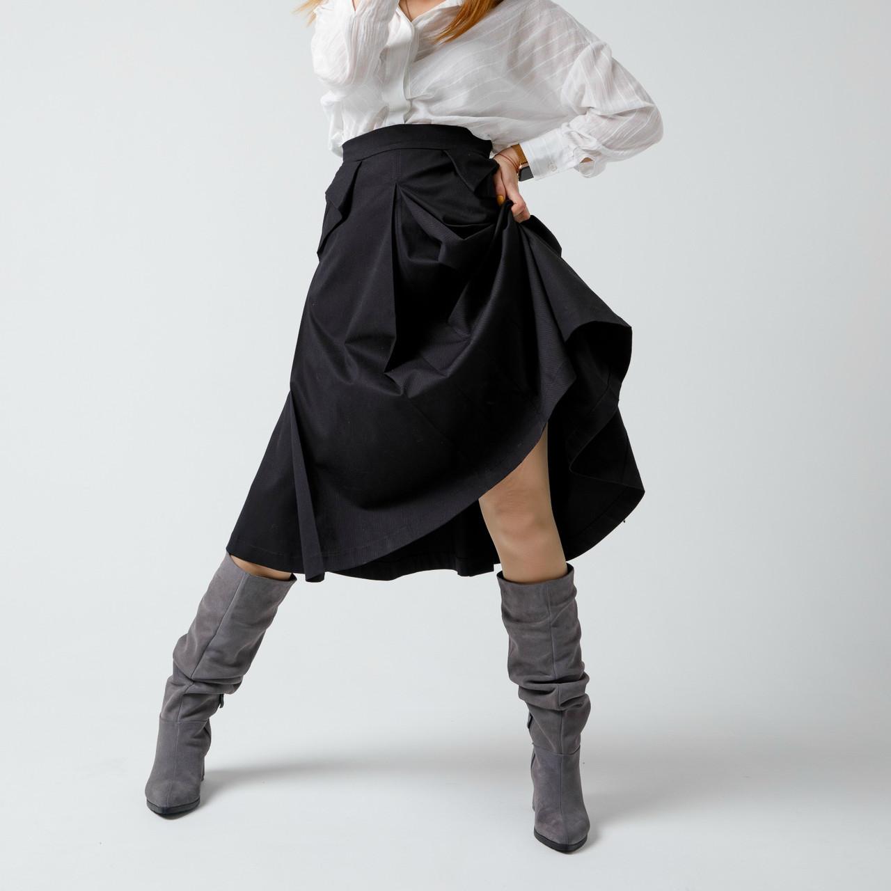 Замшевые серые женские сапоги-гармошки на среднем каблуке. Натуральная замша. Зима, деми.