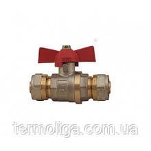 Кран WING - 20х20 (латунный шар) бабочка для металлопластиковых труб