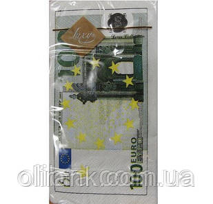 "Серветка ""LUXY"" 33х33  3-шарова МІНІ  Доллары, Евро 10шт/уп (30)"
