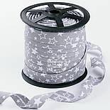 """Косая бейка из хлопка """"Звёздный карнавал"""" белый на сером фоне (18 мм ширина)., фото 2"""