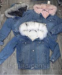 Джинсовка женская стильная с меховым капюшоном + (3 цвета)