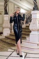 """Облегающее комбинированное платье """"Celen"""" с кожаными вставками (большие размеры)"""