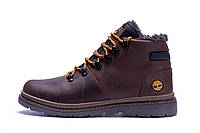 Мужские зимние кожаные ботинки Timderland  Chocolate (реплика), фото 1