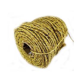 Сизалевая веревка для когтеточки Ø 6 мм - 100 м Канат сизалевый золотистый