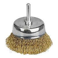 Щётка проволочная чашеобразная (для дрели  O6мм) (ЛАТУНИРОВАННАЯ) O50мм (9015051)