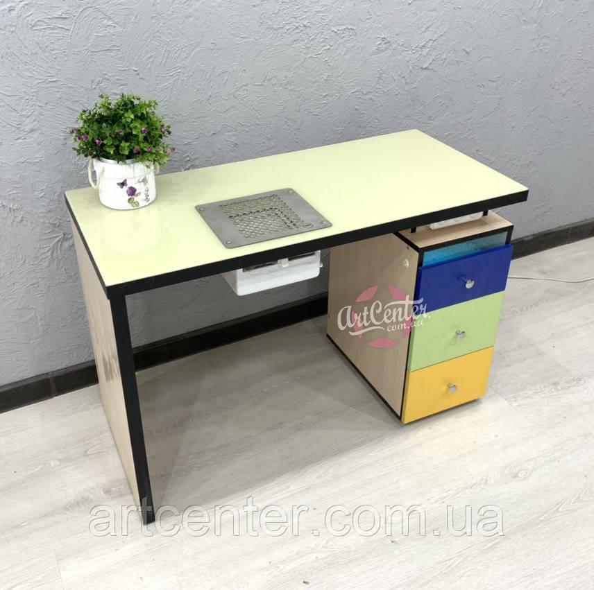 Маникюрный стол с УФ лампой в верхнем ящике и стеклом на столешнице