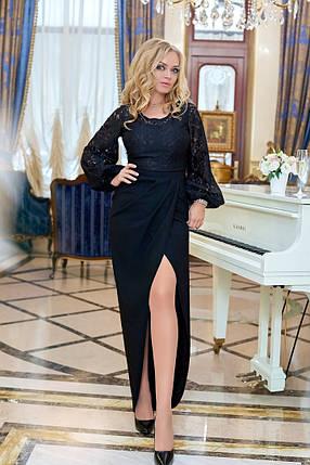 """Вечернее приталенное платье """"Madonna"""" с рукавом-фонариком (большие размеры), фото 2"""