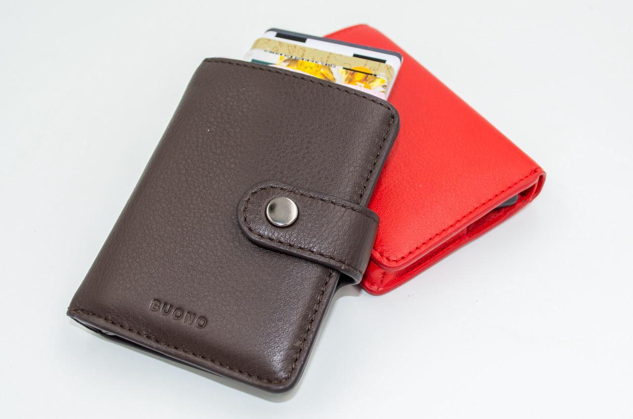 BUONO Тримач для кредитних карт з RFID-захистом з натуральної шкіри коричневого кольору