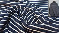 Теплая ткань ангора полушерсть темно-синяя в полоску