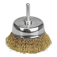 Щётка проволочная чашеобразная (для дрели  O6мм) (ЛАТУНИРОВАННАЯ) O75мм (9015071)