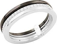 Серебряное кольцо женское с белой и черной керамикой и фианитами 925 проба