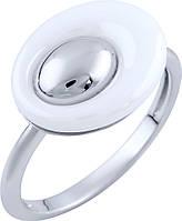 Серебряное кольцо женское с белой керамикой без камня 925 проба