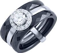 Серебряное кольцо широкое женское с черной керамикой и фианитами 925 проба