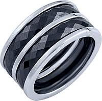 Серебряное кольцо широкое женское с  черной керамикой 925 проба