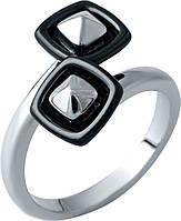 Серебряное кольцо  стильное женское с черной керамикой 925 проба