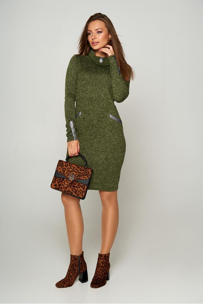 Модное женское платье с воротником-хомутом, фото 1
