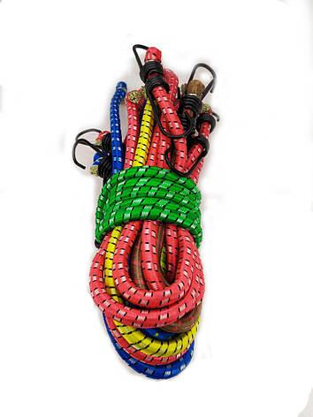Резинка багажная с крючками  1.5 м (10 шт/упак) цветная круглая, фото 2