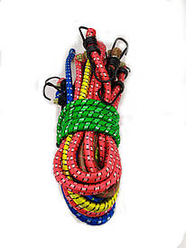 Резинка багажная с крючками  2 м (10 шт/упак) цветная круглая