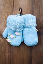 Детские варежкие утепленные голубые 5312-1