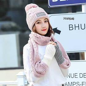 Женская шапка с шарфом 7737(16)