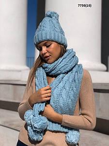 Вязаная шапка с шарфом 7736(16)