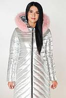 Серебристый пуховик женский зимний на молнии стеганный