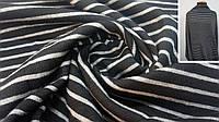 Ангора полушерстяная ткань черная в серую полоску, фото 1