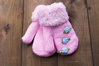Детские варежкие утепленные светло-розовые 5312-2