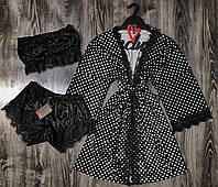Велюровый халат в горошек с кружевом+пижама(топ и шорты).