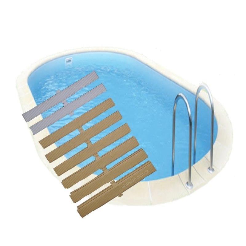 Переливная решётка 180 мм для перелива бассейна. Греция Acqua Source. Белая бежевая песочная