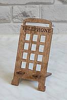"""Деревянная подставка для смартфона, телефона с гравировкой """"Телефонная будка"""""""