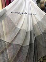 Занавеска лен полосками с разных цветов плотная  . Цвета: белый-серый, крем с темным низом