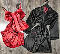 Черно-красный комплект халат и пижама 090-093 атлас премиум.