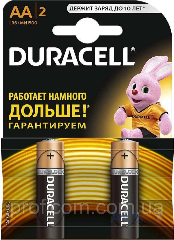 """Елементи живлення """"Duracell"""" LR-06 (АA) 2шт. (батарейки)"""