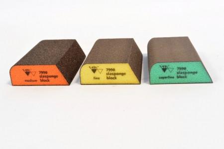 Абразивна губка 4-х стороння, комбінована, Siasponge Block, P180, 1 шт., SIA Abrasives