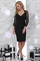 Черное платье с кружевными рукавами Флоренция S, M, L, XL