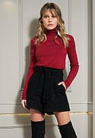 Теплые шорты черного цвета с люрексом. Модель 20445. Размеры 42-56