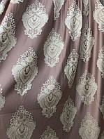 Портьеры турецкого качества с большими купонами по всей высоте . Цвет: Розовый №89584
