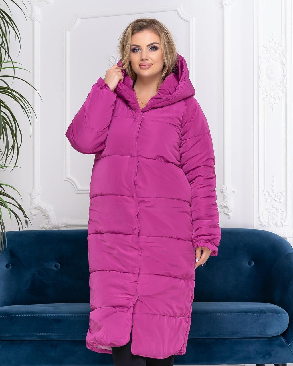 Зимнее пальто -одеяло цвет марсала БАТАЛ, арт М521